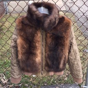 Jackets & Blazers - Faux Fur Bomber Jacket  Brown, Reversible